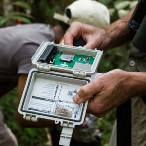 Researchers use recording devices to track the sounds of the rainforest. Photo courtesy of Justine Hausheer/The Nature Conservancy