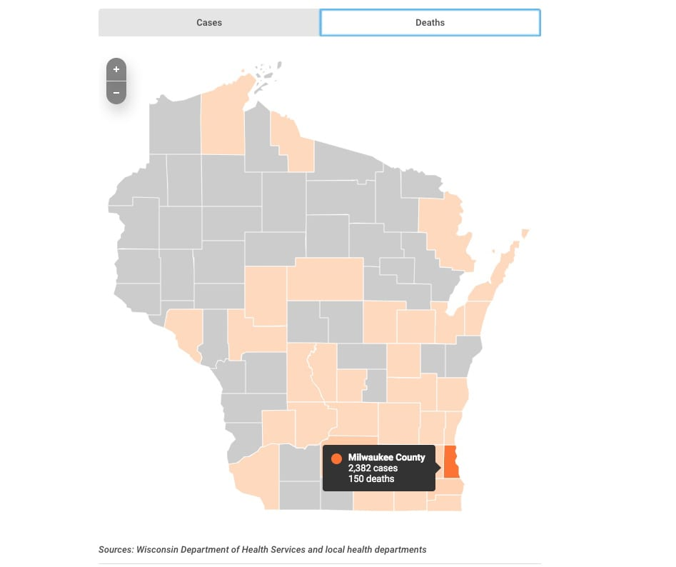The number of confirmed cases of COVID-19 in Wisconsin is growing daily. The figures reported here reflect the Wisconsin Department of Health Services' update as of Thursday, April 23, 2020. Reported deaths come from both DHS and individual counties. As of Thursday, 5,052 cases.