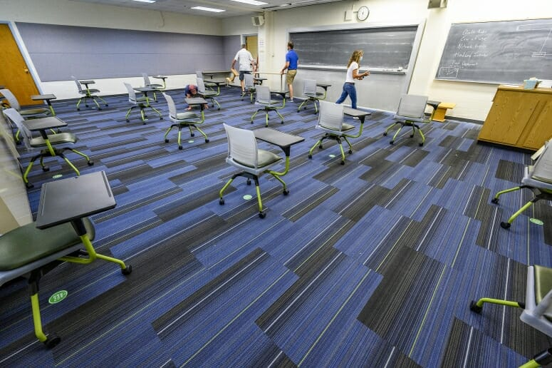 Classroom spaces for the fall are set up according to physical distancing guidelines as part of the Smart Restart plan. PHOTO BY: BRYCE RICHTER