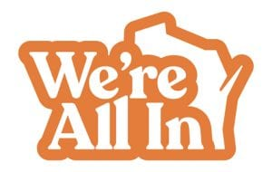 We're All In logo