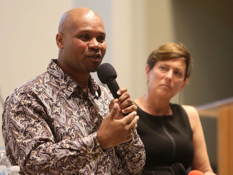 Patrick Sims, deputy vice chancellor and chief diversity officer, has taken a position as the executive vice chancellor and provost at the University of North Carolina School of the Arts. (Sims is shown here at a Cap Times Talks event in 2019.) MICHELLE STOCKER