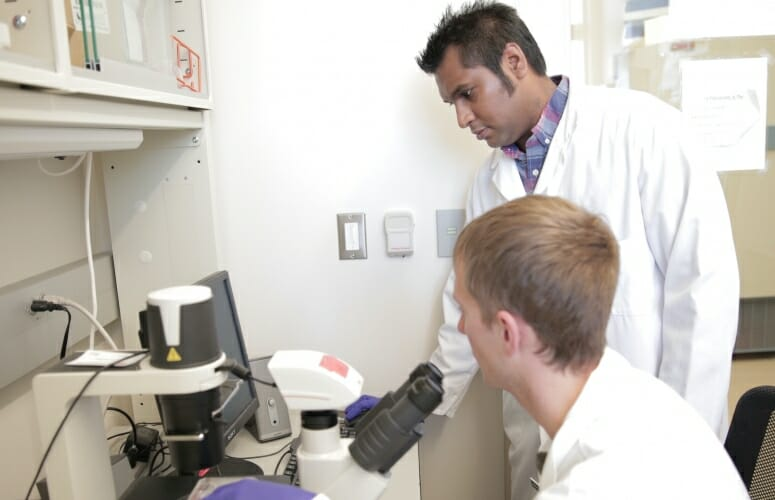 The lab of Kris Saha (standing) has developed an innovative combination of gene-editing tools and computational simulations that can be used to develop new strategies for editing genes associated with genetic disorders. PHOTO: STEPHANIE PRECOURT