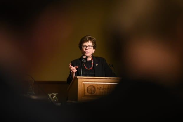 UW-Madison Chancellor Rebecca Blank speaks during to the UW System Board of Regents in Madison in February 2020. Bryce Richter/UW-Madison