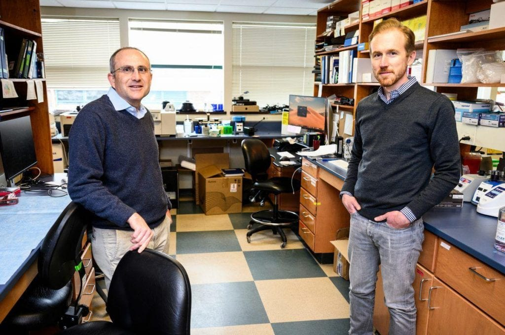 David O'Connor, left, and Thomas Friedrich are pictured in a lab at the University of Wisconsin–Madison in March. Photo: Jeff Miller, UW-Madison