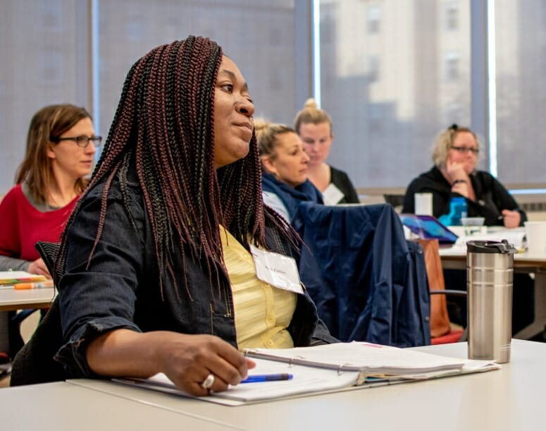 Ruth Collins listens during an Upstart class in winter 2019. WARF's UpStart Program trains cohorts of women and BIPOC entrepreneurs about every aspect of business ownership. Collins started a business called Restoration Soap & Bodycare. SUBMITTED PHOTO