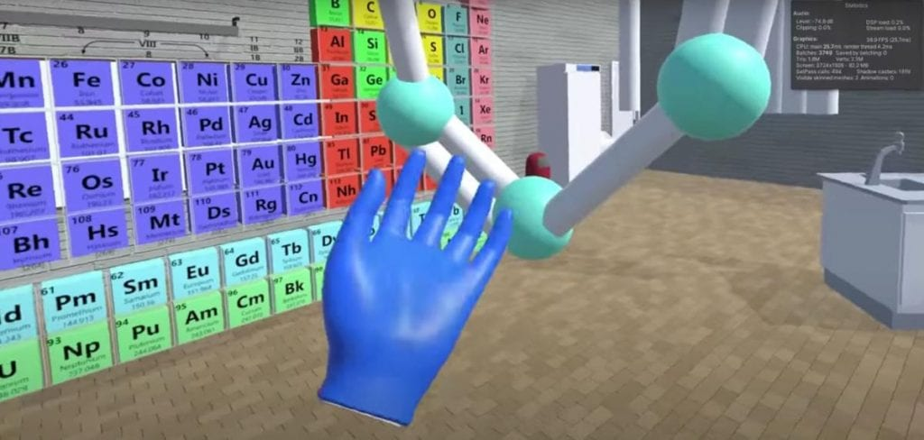 A screenshot from an EduReality demo shows chemistry students putting together molecules in a virtual laboratory. The startup aims to offer a virtual reality alternative to in-person labs for college students. Courtesy of EduReality