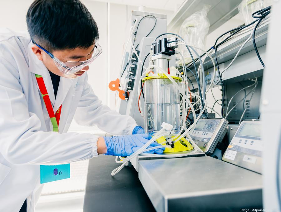 A MilliporeSigma scientist works with the company's Mobius 3L Single-use Bioreactor, a single-use stirred tank bioreactor for bench-scale cultivation of mammalian cells. PHOTO: MilliporeSigma