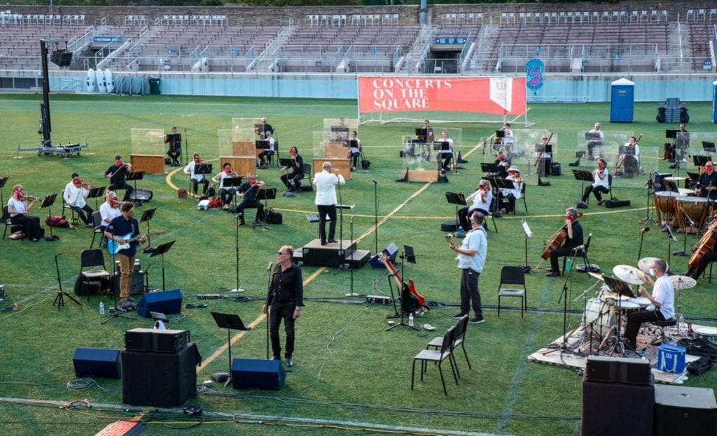 """The Wisconsin Chamber Orchestra staged two socially distant """"Concerts on the Square"""" performances at Breese Stevens Field for broadcast and livestreaming in late summer 2020. It will return to the stadium with five concerts in front of a 1,500-person crowd this July and August. WISCONSIN CHAMBER ORCHESTRA"""
