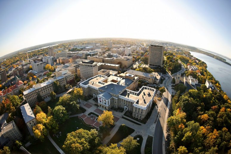 Bascom Hall atop Bascom Hill is pictured in a fisheye-lens aerial view of the University of Wisconsin–Madison campus. PHOTO: JEFF MILLER